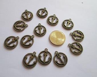 13 breloque ancre de marine en métal couleur bronze 19 X 17 mm