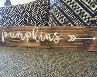 Rustic Fall Pumpkins Wood Sign