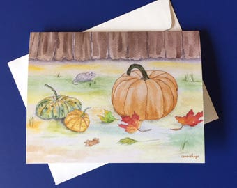 Autumn Days.  Watercolor print note card with envelope.
