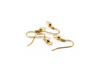 Set of 20 gold metal hooks