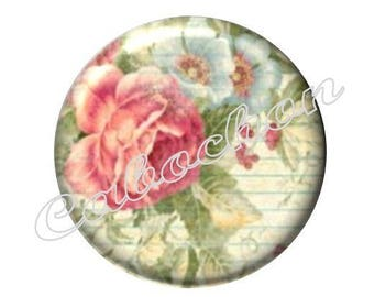 1 cabochon 25mm glass, Valentine's day, flowers