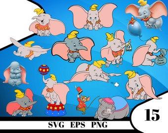 15 Dumbo Clipart – (svg, eps, dxf , png) Digital 300 PPI PNG, Vectorial images, Photos, Scrapbook, Digital, Cliparts, Decoration