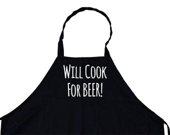 will cook for beer! Funny cooking Grill Aprons Kitchen Chef Bib for BBQ