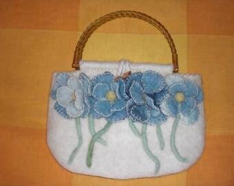 felted bag,handmade,wool,bag with blue flowers,stylish bag,felted flowers,designer bag
