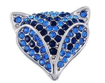 x 1 Fox rhinestone blue (for jewelry) tone metal snap button silver 22 x 23.5 mm