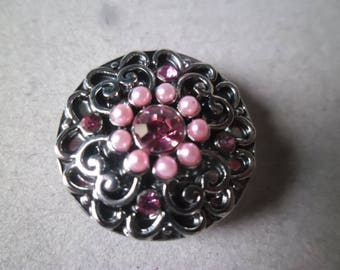 "x 1 ""jewel"" pattern Pink Rhinestone silver heart 20 mm snap button"