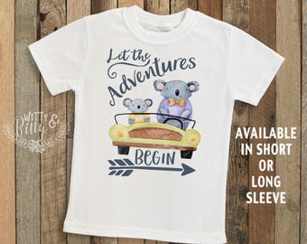 Let The Adventures Begin Koala Kids Shirt, Daddy Kids Shirt, Boho Kids Shirt, Cute Boy Tee, Boho Kids Shirt, Cute Boys Shirt - T260L