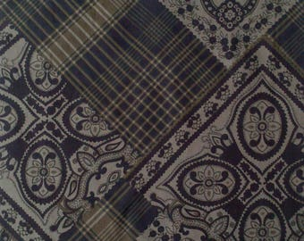 SET OF A CUT OF FABRIC IN SHADES OF BLUE TO DARK - BROWN