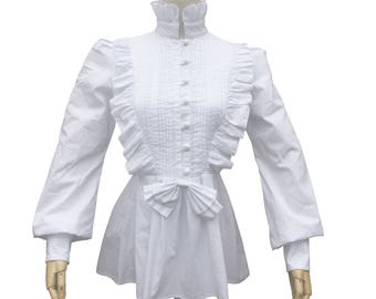 Victorian Vintage Women White Blouse Theatre Bodice Witch Halloween Costume  Renaissance Pirate Pleated Cotton Shirt