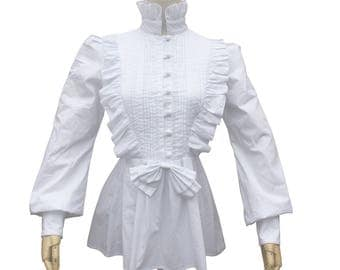 Victorian Vintage Women White Blouse Theatre Bodice Witch Halloween Costume  Renaissance Pirate Pleated Cotton Shirt