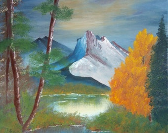 Bob Ross Style Oil Painting Replica - Mountain Splendor