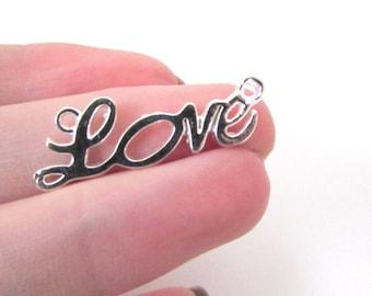 1 charm connector Love decoration silver jewelry necklace, bracelet Valentine 33x10mm