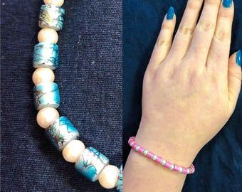 Decorative Bead & Glass Pearl Bracelet