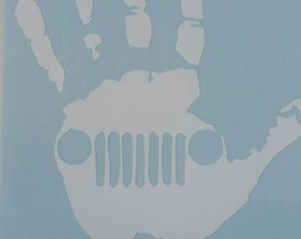 pair of left and right Jeep hand wave decals.