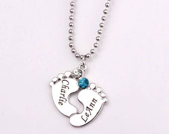 Engraved baby feet necklace with birthstone