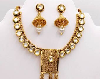 Indian kundan necklace set with earrings Bollywood style