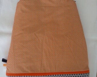 Orange and black winter sleeping bag