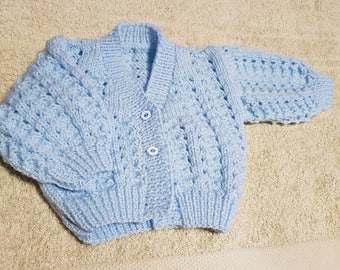 Handknitted blue baby cardigan. Size 0-3 months