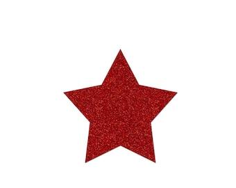 5 cm in Flex fusible glittery red star pattern