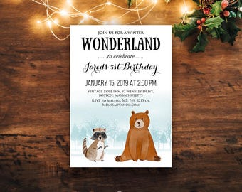 Woodland Animals Birthday Printable Invitation Winter Wonderland Baby & Kids Birthday Invites Forest Bear Raccoon Any Age Invites Download
