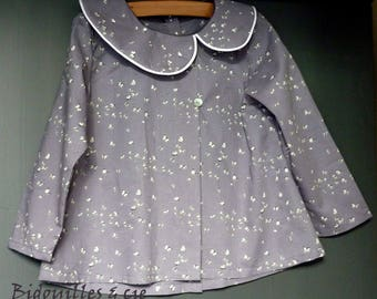 Blouse collar asymmetric cotton grey butterflies benches kids
