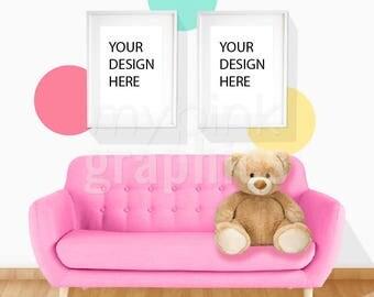 Set of 2 - A4 A3 Girl Nursery Mockup, A4 A3 Digital Mockup, A4 A3 Frame Mockup, Print Mockup, White Frames Mockup, Girl Room, Panda - MPG67