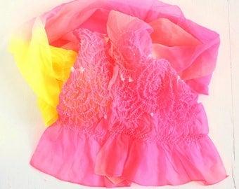 Japanese Vintage Heko Obi Belt for Kimono Pink Yellow