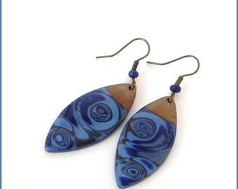 Blue and gold polymer clay earrings fancy resin.