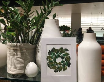 Hand painted WATERCOLOR wreath or florals PAINTINGS