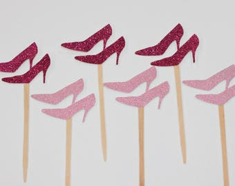 Heels Cupcake Toppers - Birthday Decor - Gender Reveal Decor- Boy or Girl - Baby Shower - Fashion Party - Birthday- Girl - Red Bottoms-12 ct