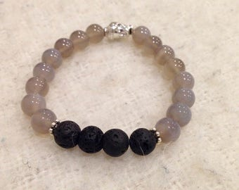 Grey Agate Diffuser Mala Bracelet