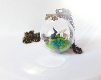 Origami rabbit glass globe necklace