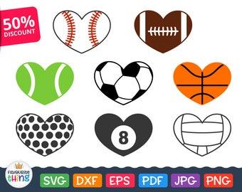 Heart Soccer Ball svg Sport Heart Balls Svg Baseball Heart Svg Football Basketball Tennis Volleyball Golf Eightball Heart Silhouette Dxf Png