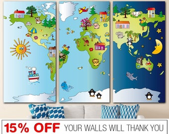 Nursery world map etsy sciox Choice Image