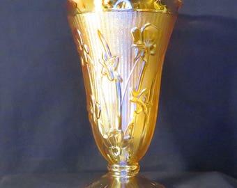 Iris and Herringbone Carnival Glass Vase Jeannette Glass Company