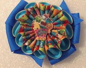 Shopkins Hair bow, blue hair bow, hair bow, character hair bow, toddler hair bow, girls hair bow, party hair bow