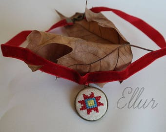 Embroidery Ukrainian jewelry Red blue cros stitch pendant Hand embroidered necklace Red choker Teen girl jewelry Fabric necklace Eco pendant