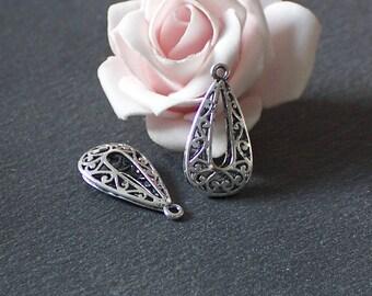 2 beautiful charms/pendants in silver plated brass Teardrop shape Platinum BRA17
