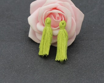 x 10 charms 25 mm to 30 mm olive green color cotton tassels