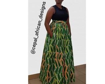 Kola Maxi Skirt, African Print Skirt, African Clothing, African Maxi Skirt,Ankara Skirt,Handmade African Skirt, African Skirt With Pockets