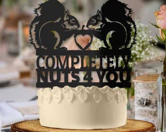Completely Nuts 4 You Squirrel Love Couple Wedding Cake Topper