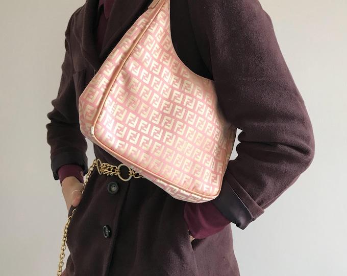 Fendi Zucca Pink and Gold Handbag