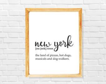New York print, New York sign, New York poster, New York gift, Modern city printable, Black and white minimalist city poster,Modern wall art