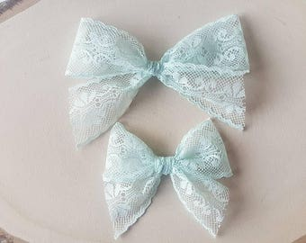 Mint Charlotte Lace Bow - Handtied Bow - Baby girl - Nylon Headbands - Fabric hair bows/Clips- Infant/Toddler