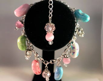 Jelly Bean Bracelet / Easter Bracelet / Unique Foodie Gift / Gift For Her / Polymer Clay Charms