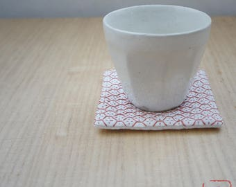 "Handmade coaster ""SASHIKO""  brown"