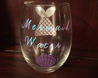 14oz mermaid stemless wine glass