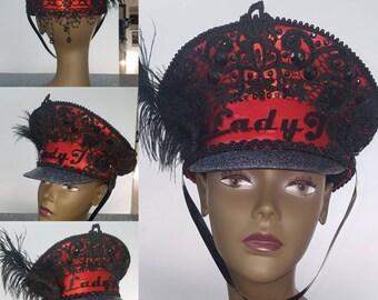 Personalised hat, Military Hat Festival Hat Captains Hat bespoke hat personalised Headwear dj hat celebrity hat festival cap Burning Man Hat