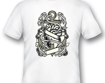 Heart and anchor skeleton tee shirt 08012016