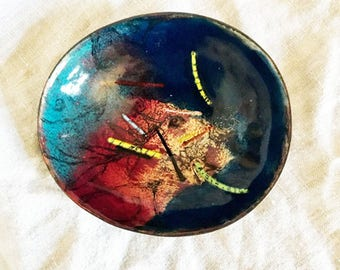 Copper Enamel Oval Tray, Leaf and Vines